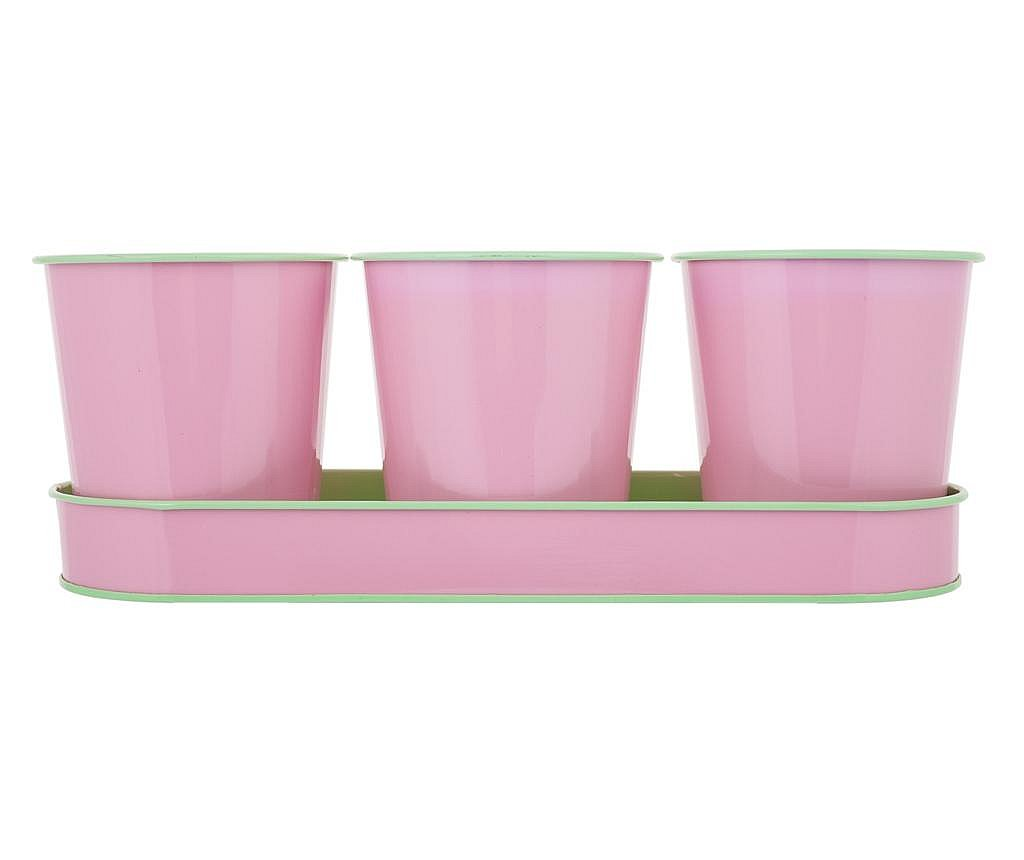 Set 3 ghivece si 1 tava Lily Pink