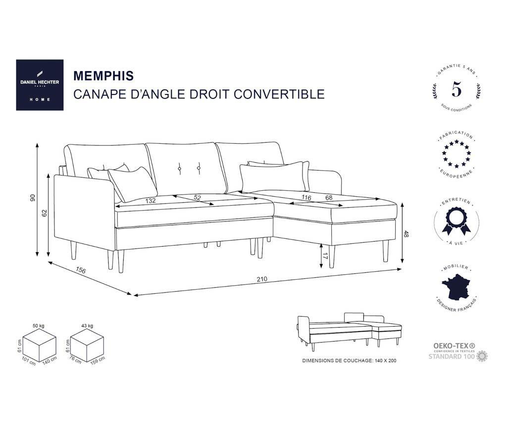 Coltar extensibil dreapta Memphis Navy Blue