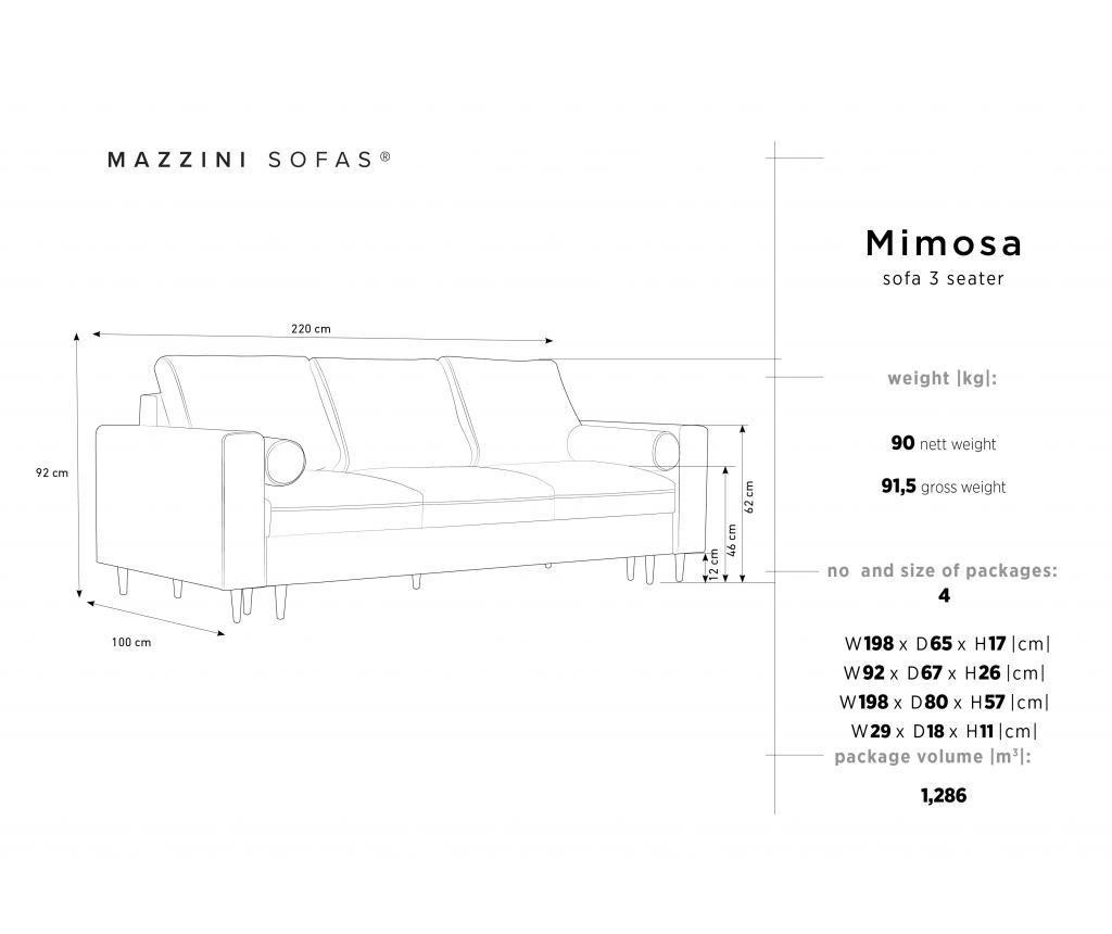 Canapea extensibila 3 locuri Mimosa Black