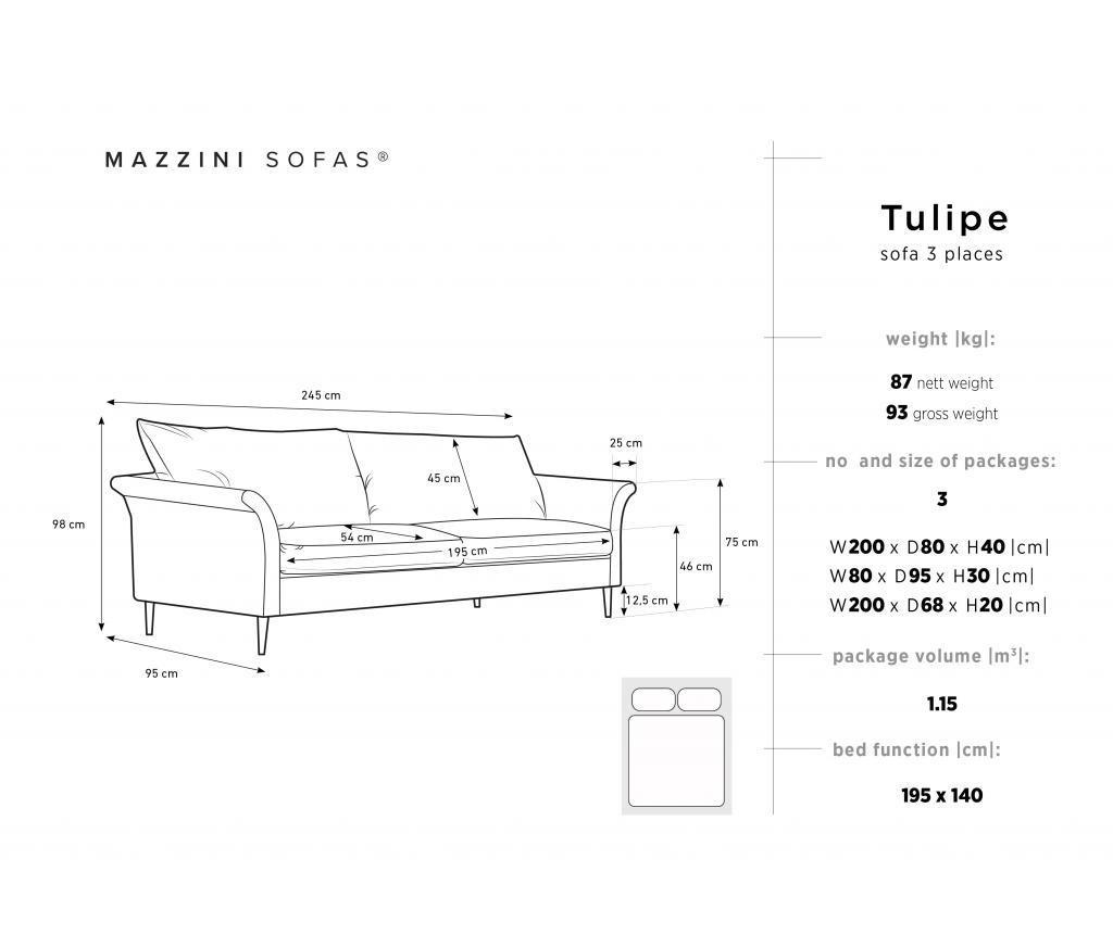 Canapea extensibila 3 locuri Tulipe Petrol
