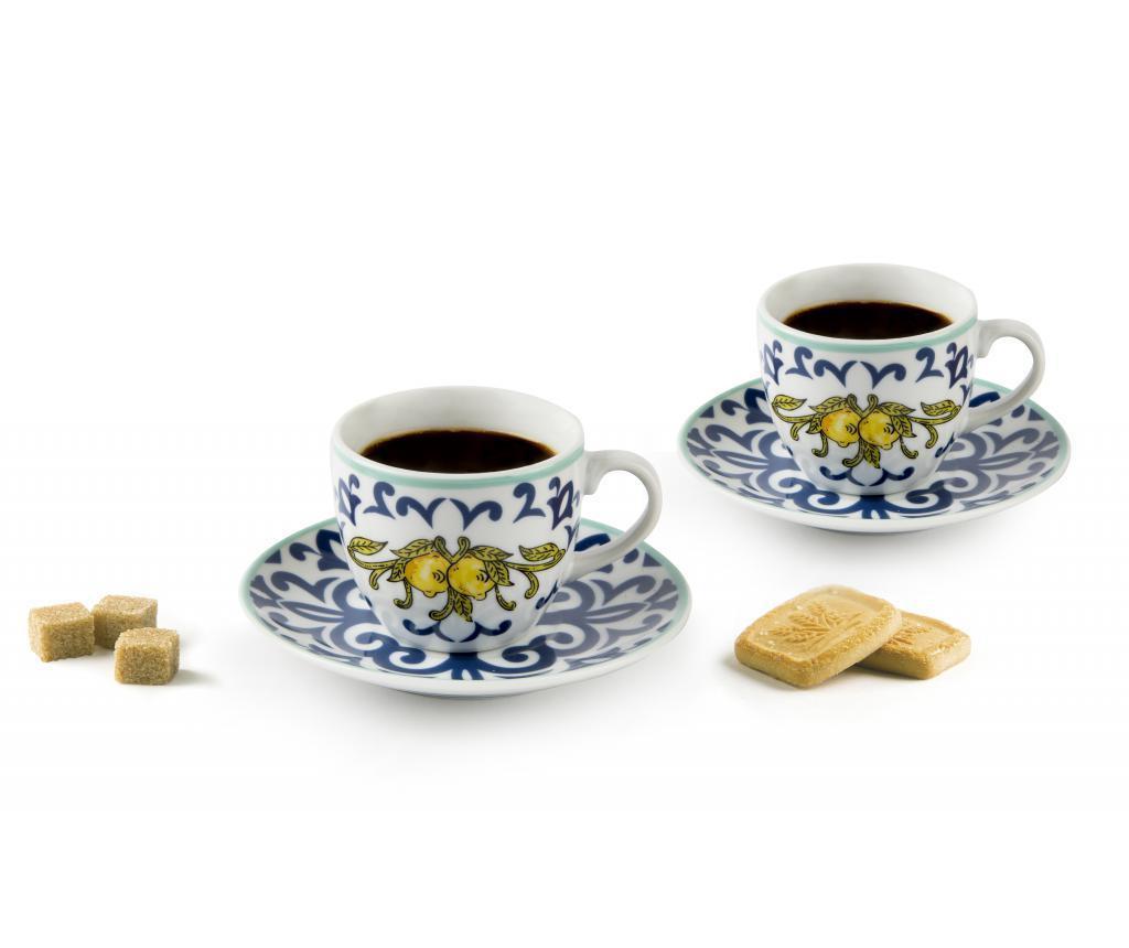 Set 6 cesti si 6 farfurioare pentru cafea Amalfi 90 ml