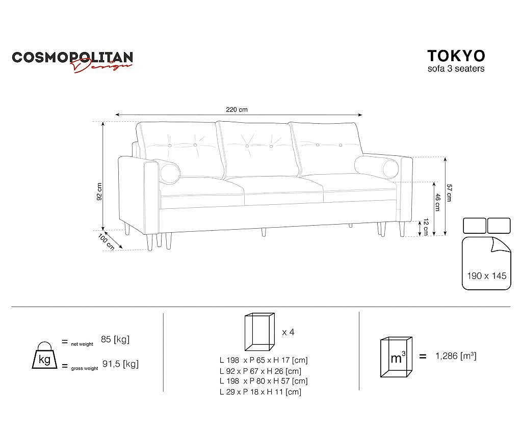 Canapea extensibila 3 locuri Tokyo Red