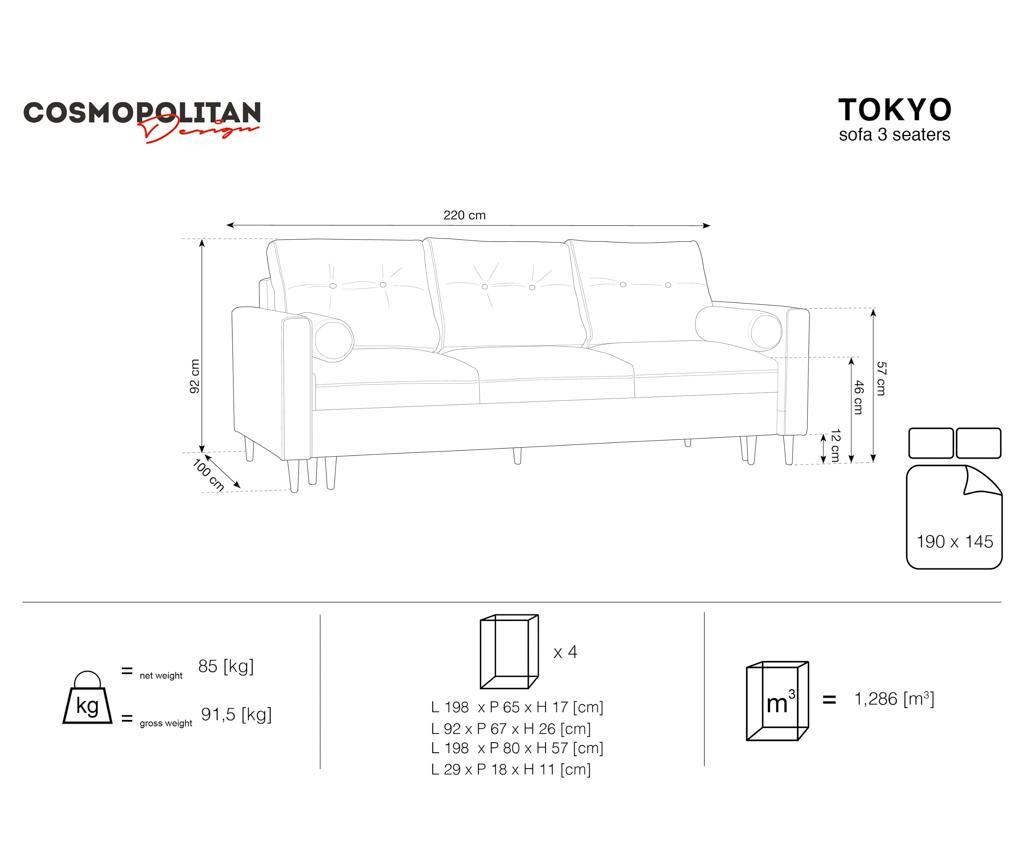 Canapea extensibila 3 locuri Tokyo Light Grey