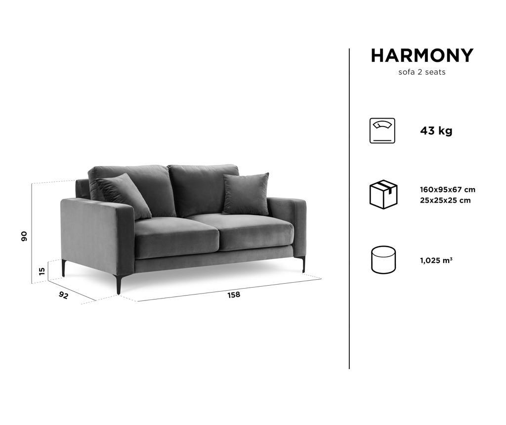 Canapea 2 locuri Harmony Blue