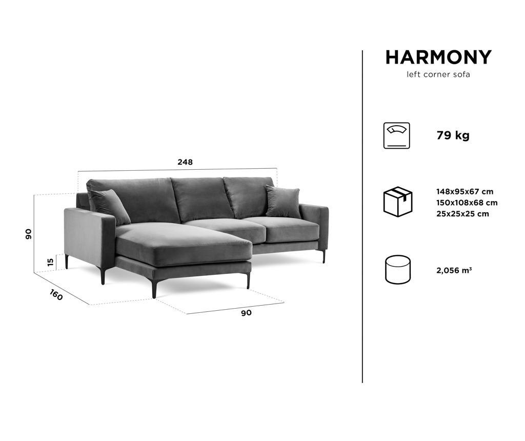 Coltar stanga 4 locuri Harmony Grey