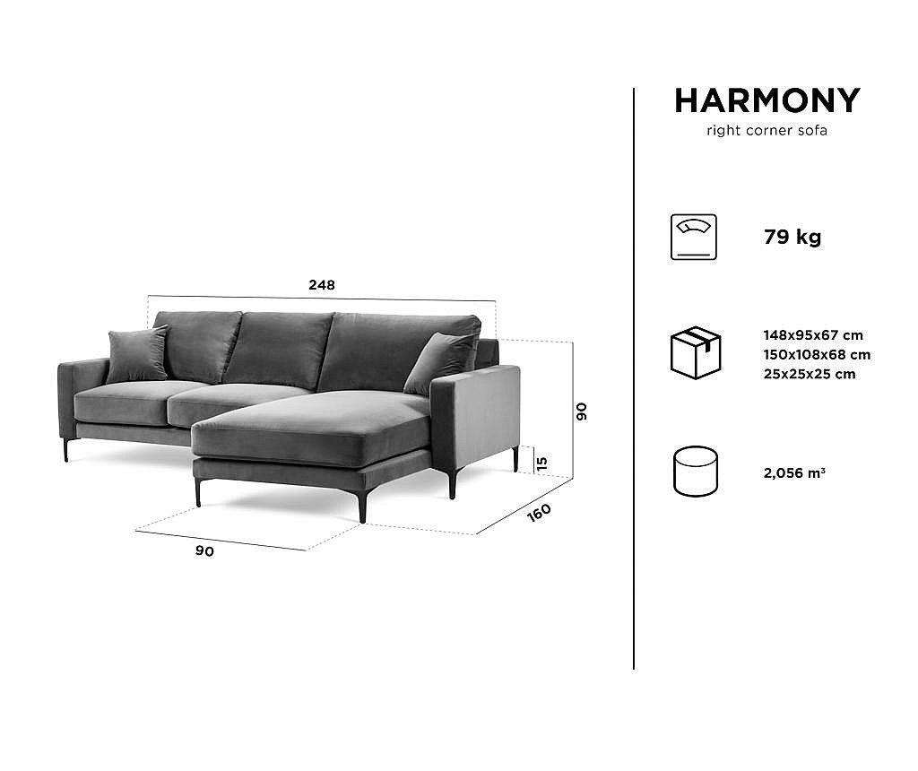 Desna kutna sofa četvorosjed Harmony Dark Grey