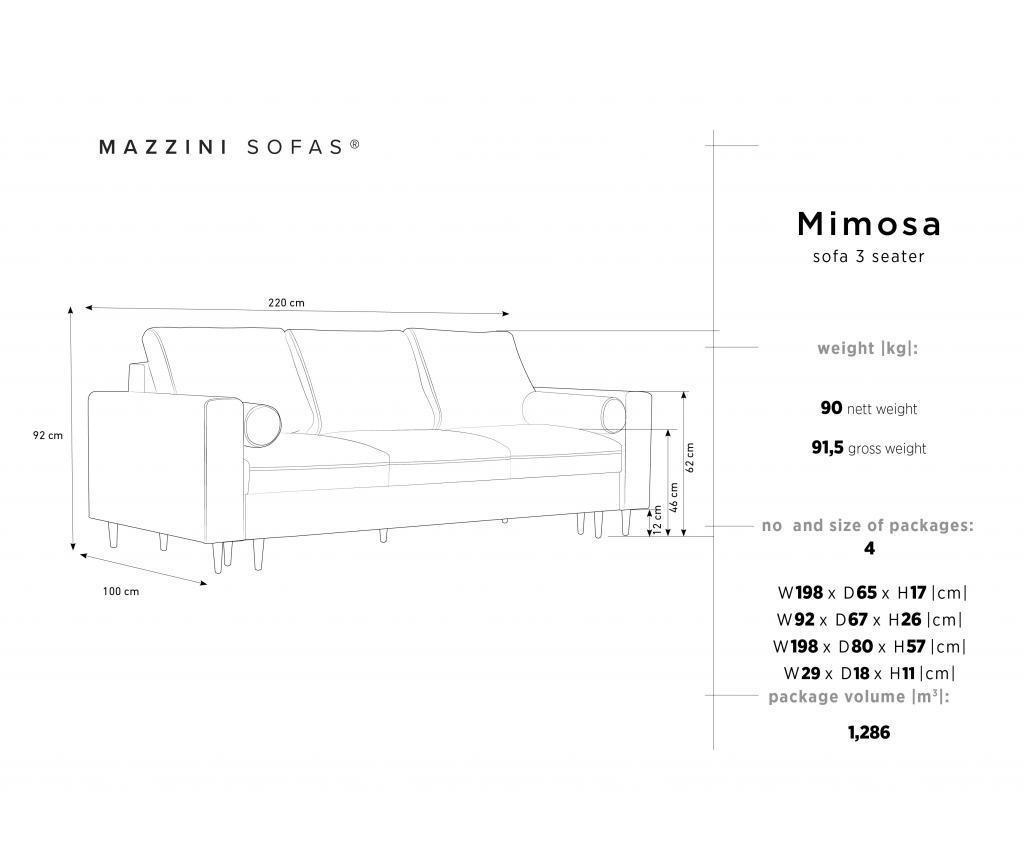 Mimosa Beige Kihúzható háromszemélyes szófa