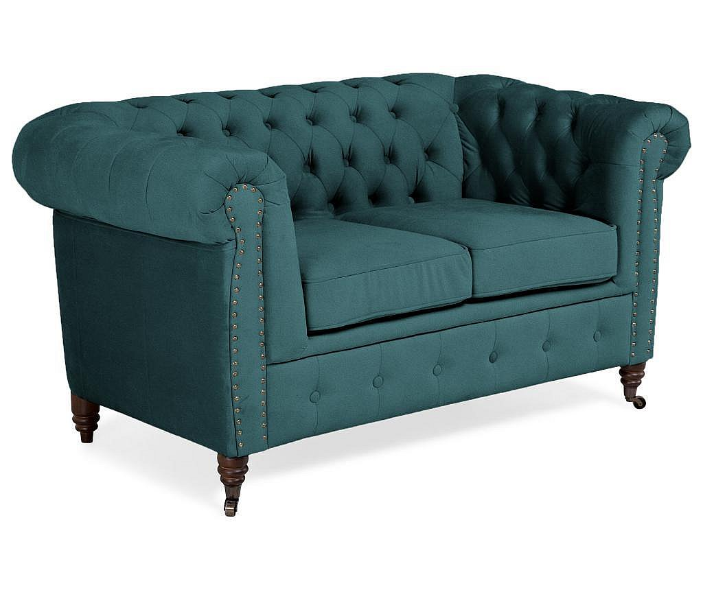 Двуместно канапе Chesterfield Bluegreen Turquoise Velvet