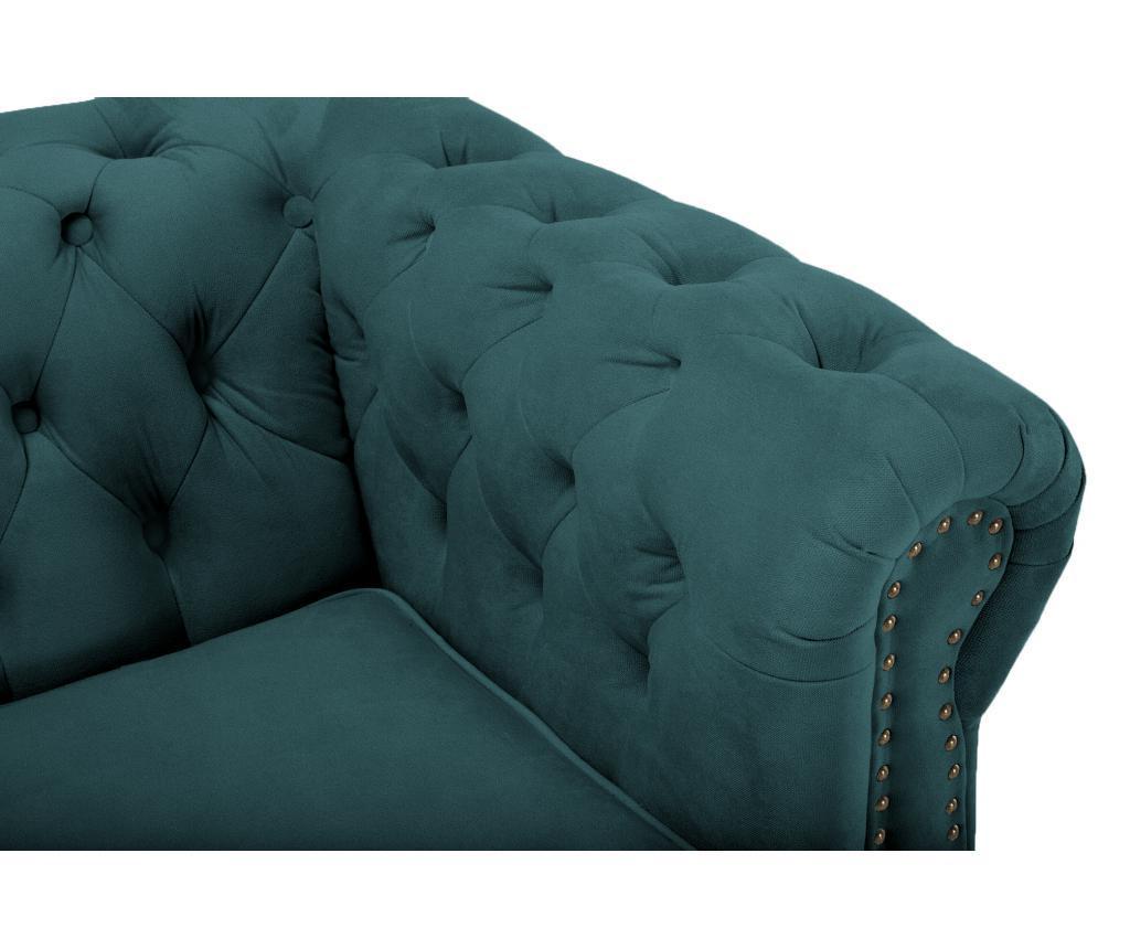Chesterfield Bluegreen Turquoise Velvet Négyszemélyes kanapé