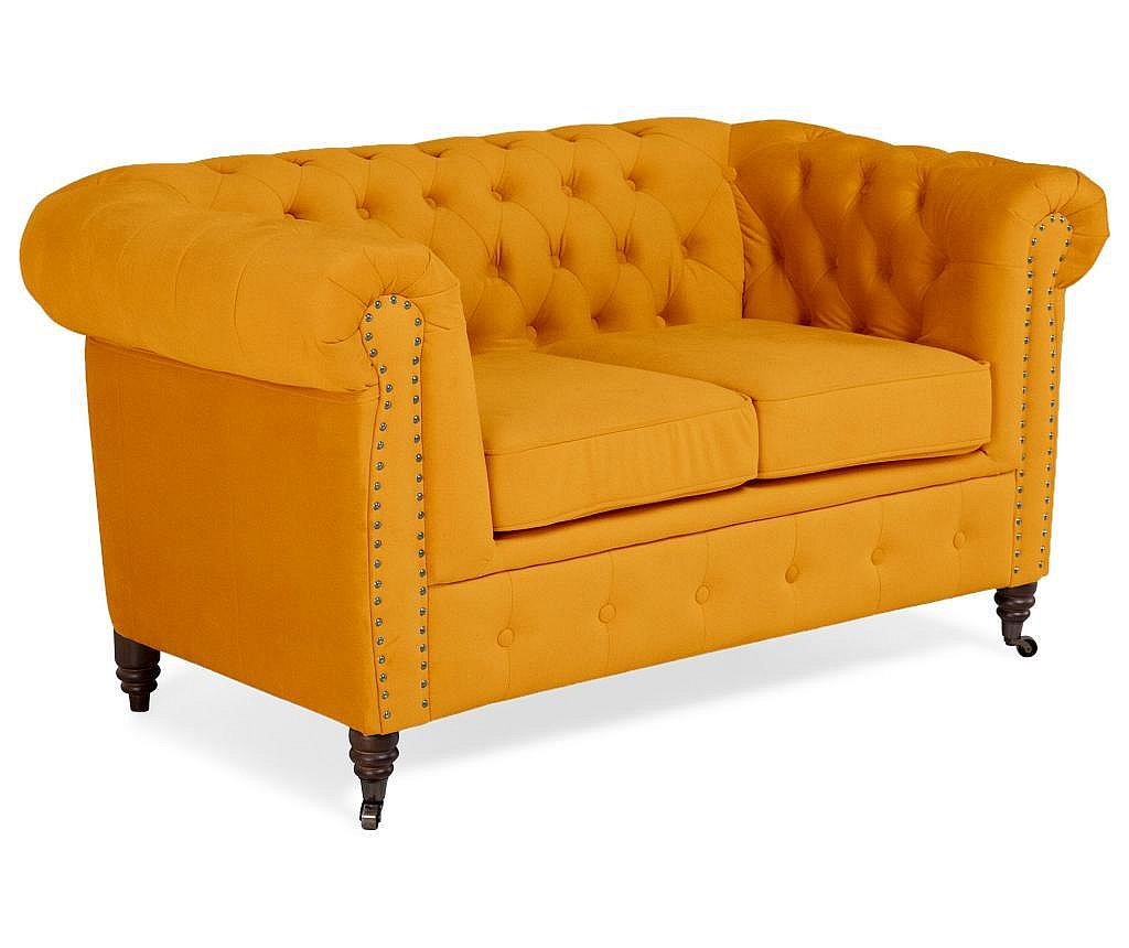 Canapea 2 locuri Chesterfield Yellow Velvet