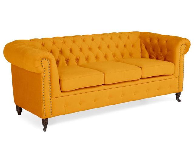 Chesterfield Yellow Velvet Háromszemélyes kanapé