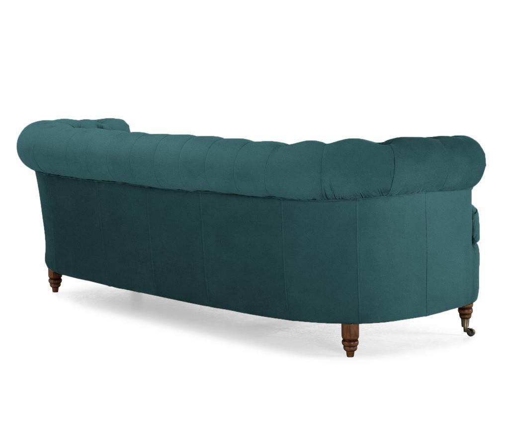 Canapea 3 locuri Chesterfield Curved Bluegreen Turquoise Velvet