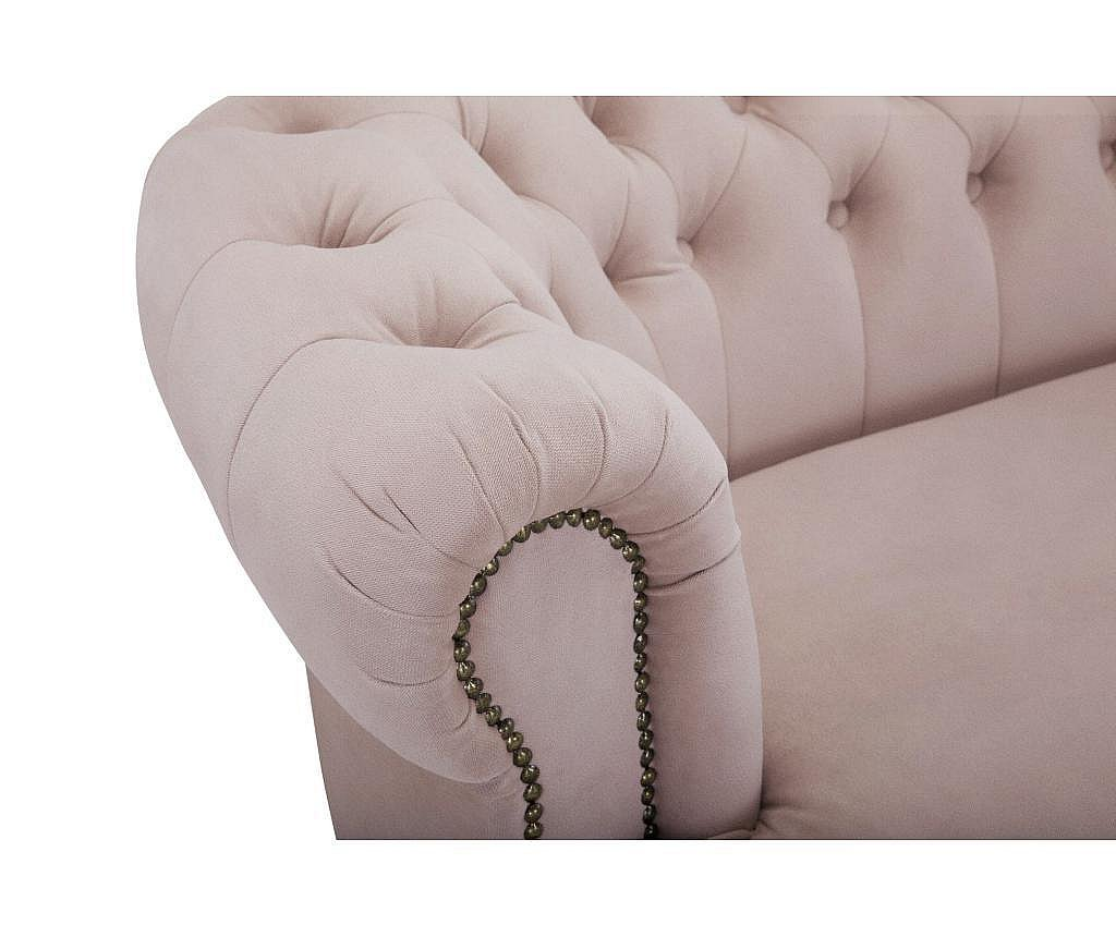 Canapea 3 locuri Chesterfield Curved Light Pink Jasmine Velvet