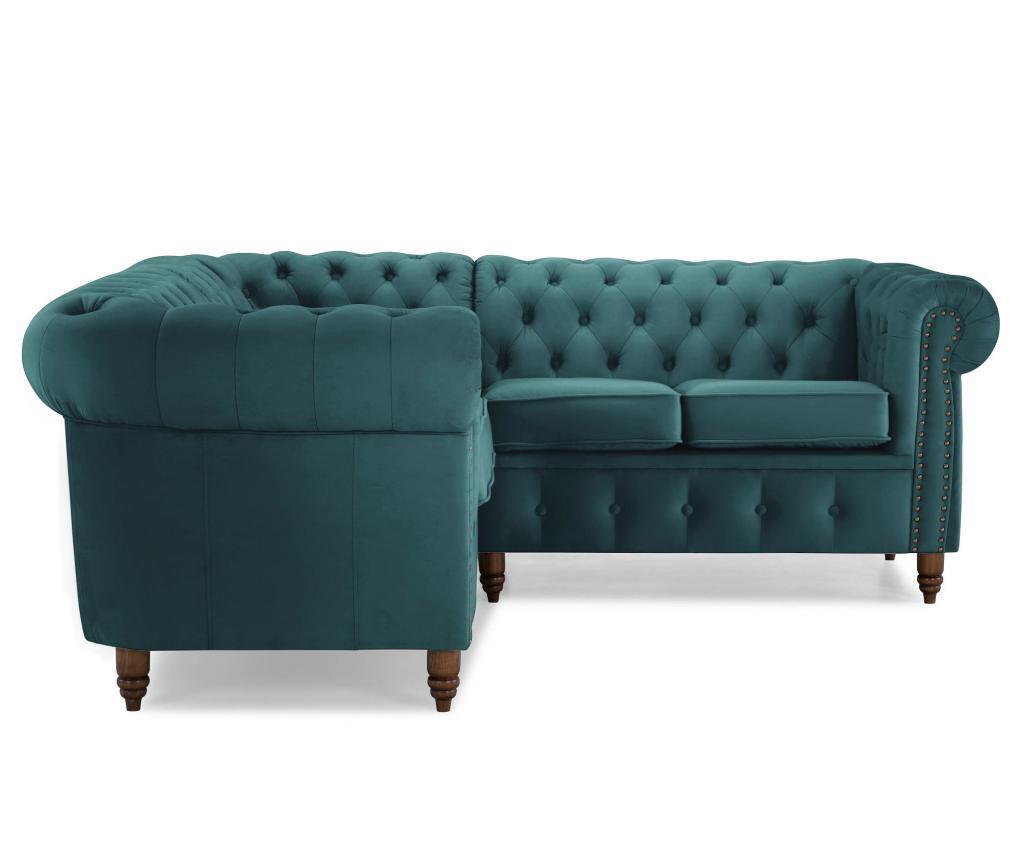 Coltar 4 locuri Chesterfield Bluegreen Turquoise Velvet
