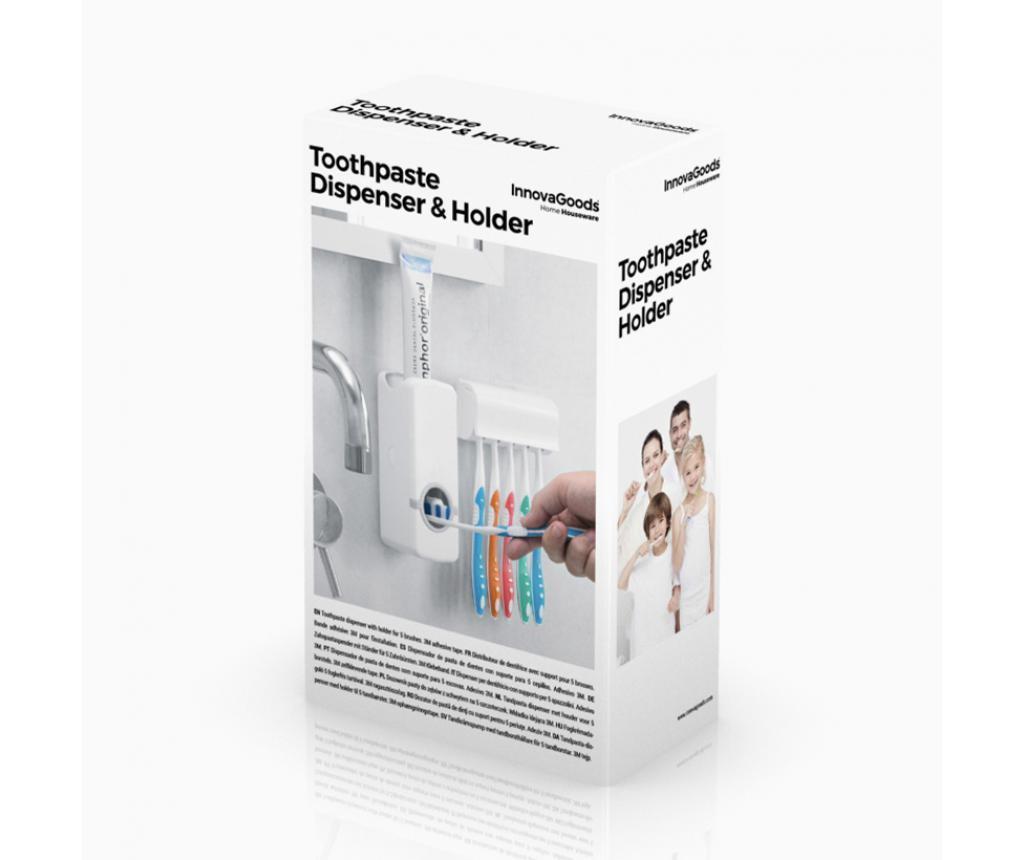 Set dispenser pentru pasta de dinti si suport pentru periuta de dinti