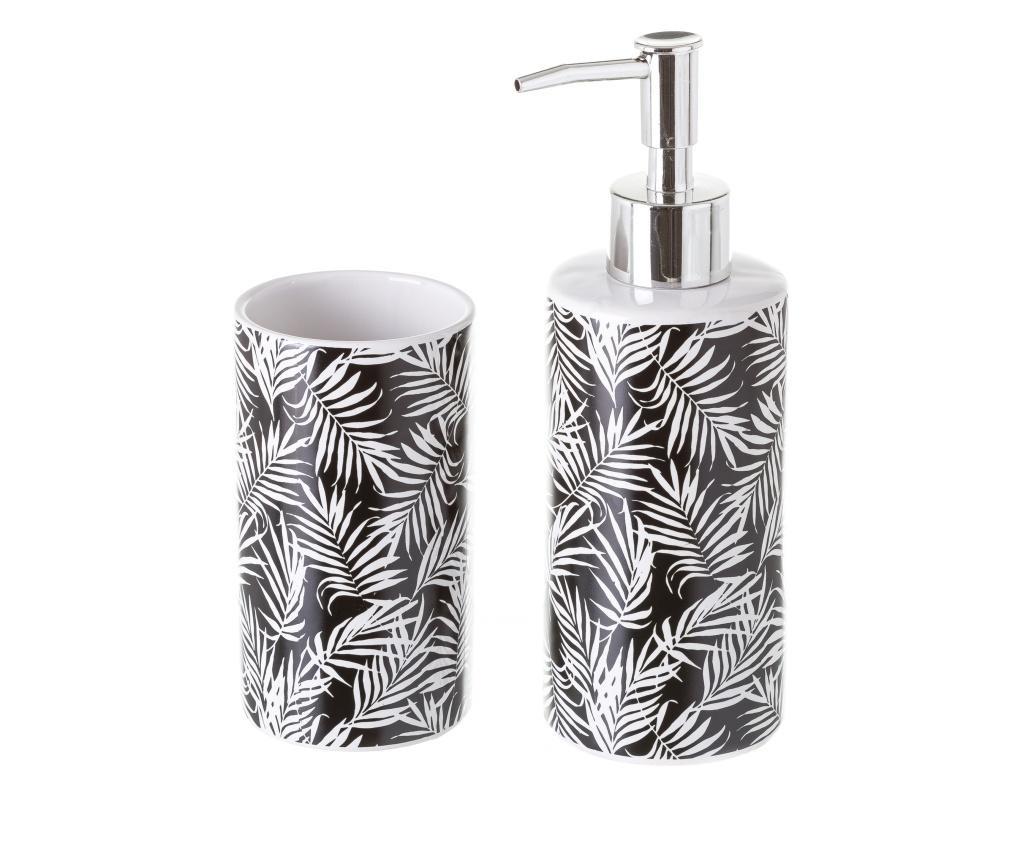 Set dispenser pentru sapun lichid si suport pentru periute de dinti Palm Black