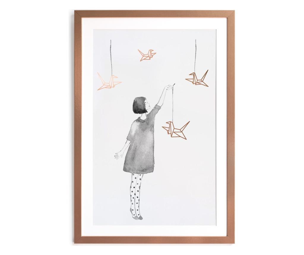 Tablou Little Girl with Birds 40x60 cm