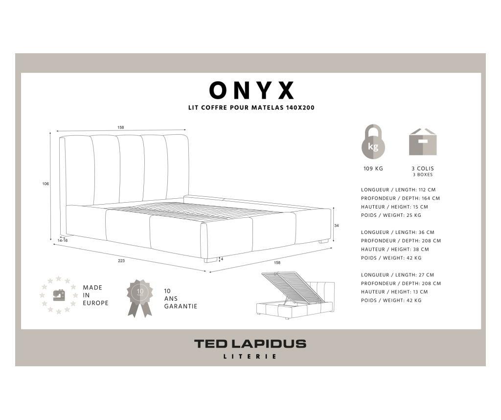 Pat cu spatiu de depozitare Onyx Marine Blue 140x200 cm