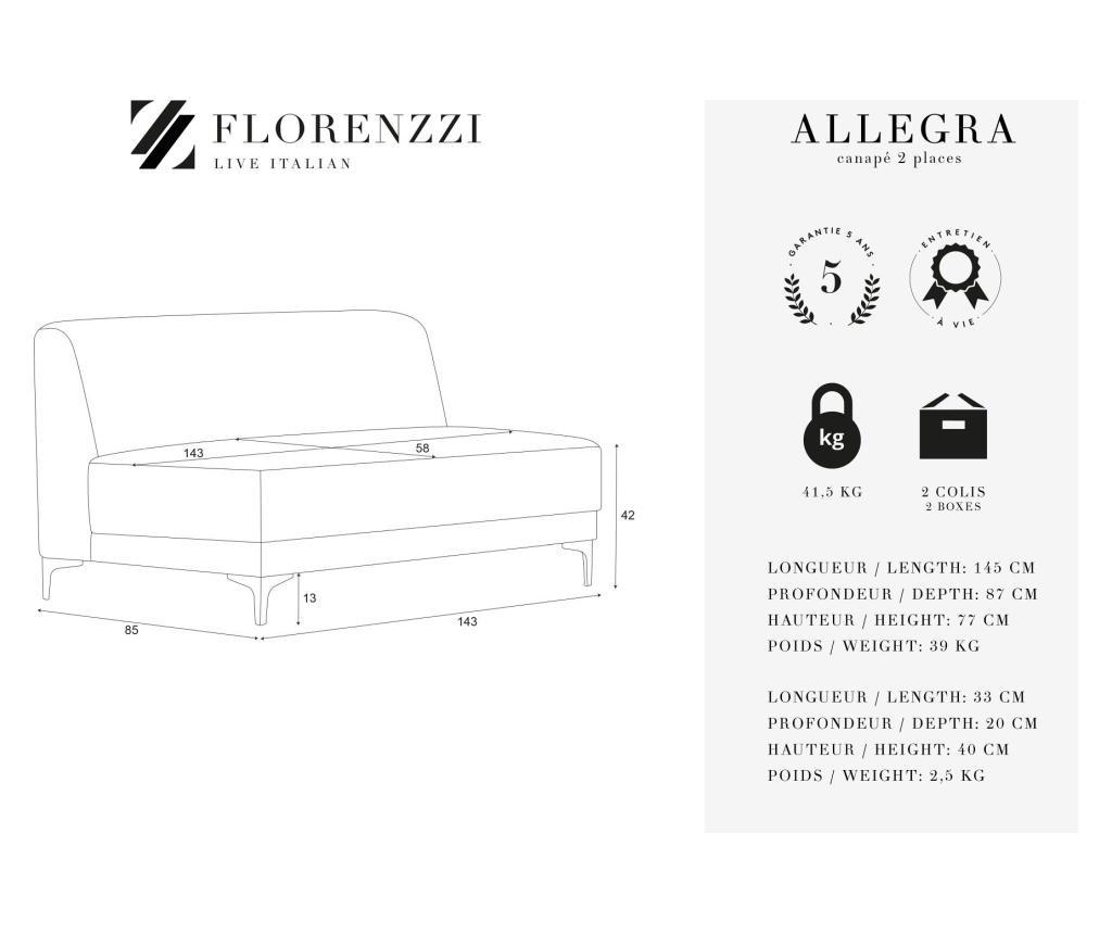 Canapea 2 locuri Allegra Hazelnut
