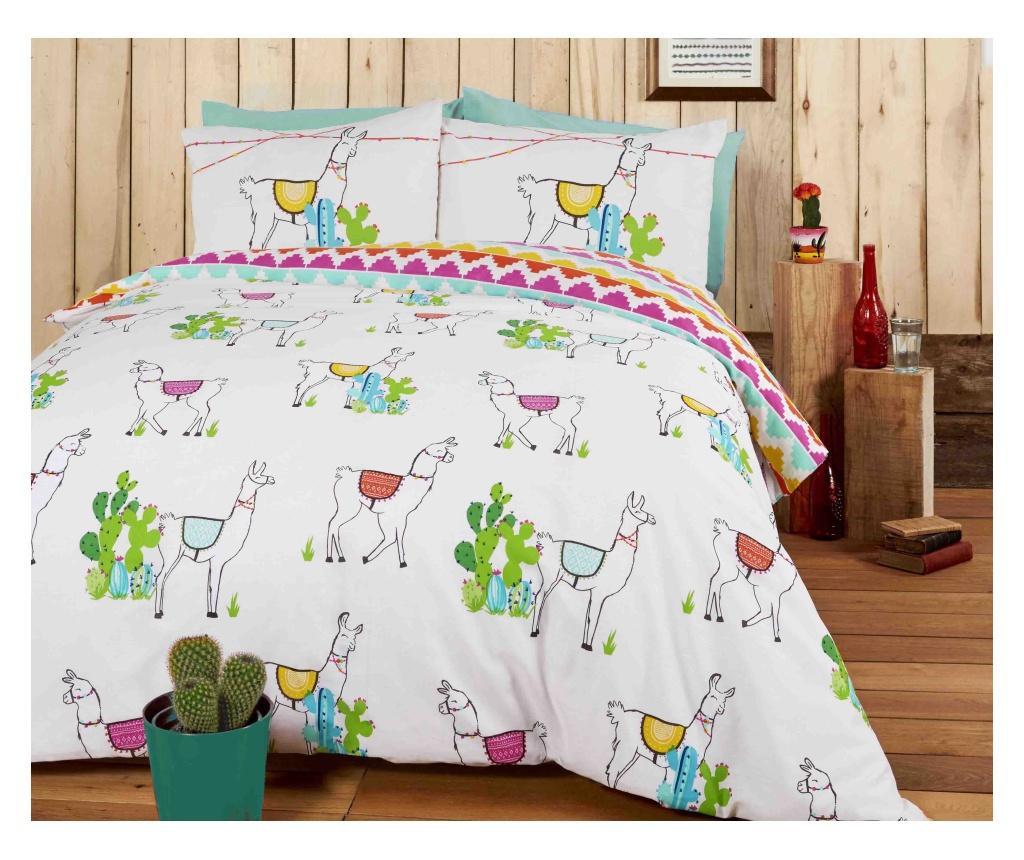 Set de pat reversibil Double Happy Llamas
