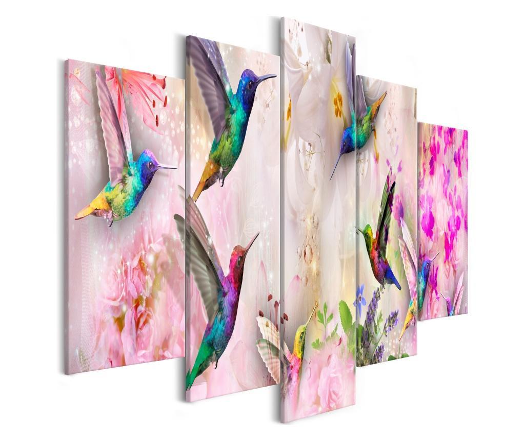 Set 5 tablouri Colourful Hummingbirds (5 Parts) Wide Pink 100x50