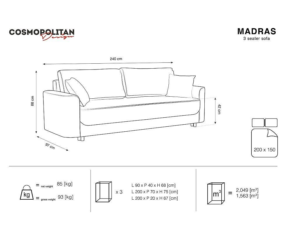 Rozkładana kanapa 3-osobowa Madras Light Beige