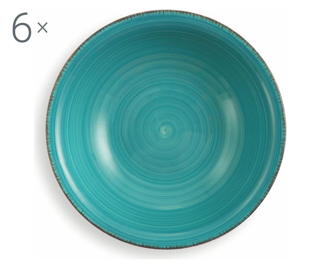 Zestaw 6 talerzy do zupy New Baita Turquoise