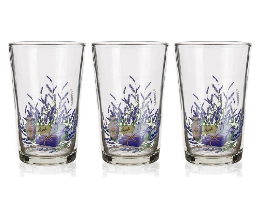 Set 3 pahare Lavender 230 ml