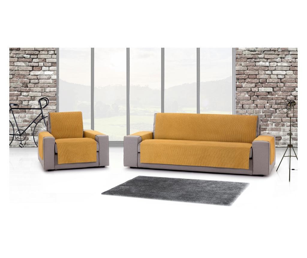 Pokrowiec na kanapę 4-osobową Chenille Salva Mustard 190x95x220 cm