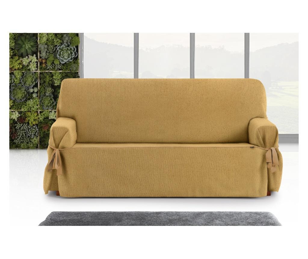 Regulowany pokrowiec na kanapę 3-osobową Chenille Ties Mustard 180x45x50 cm