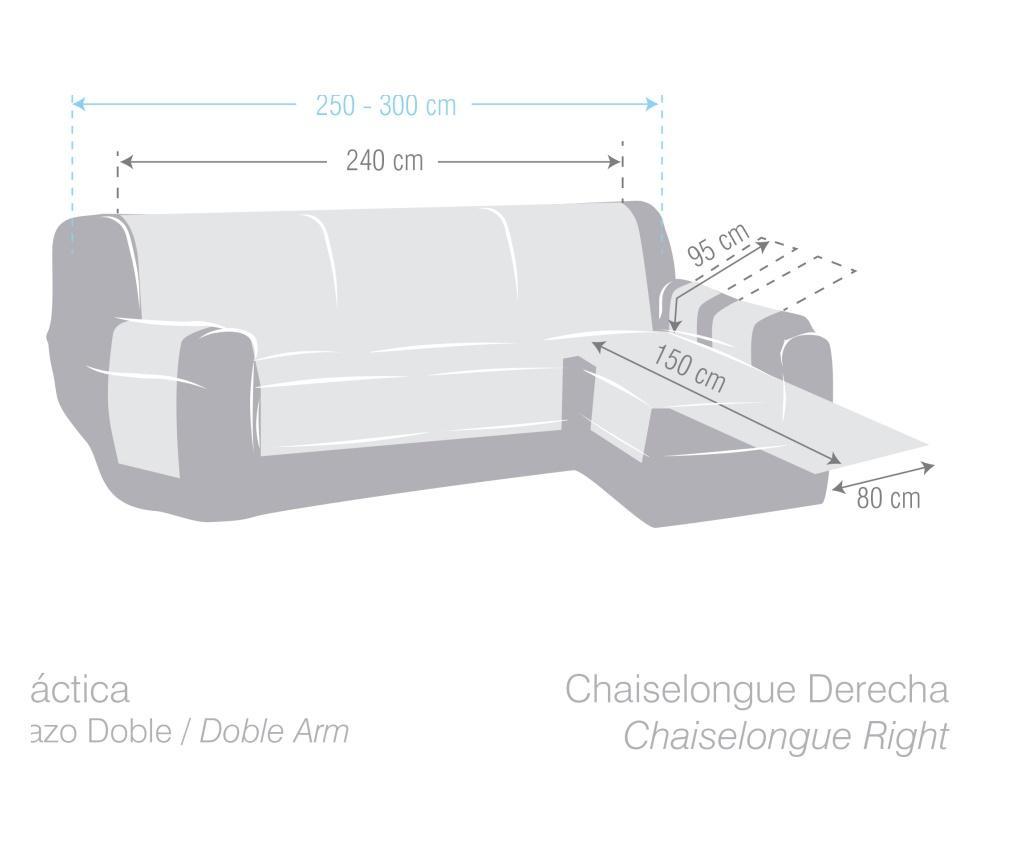 Potah na lehátko do obýváku pravostranné Chenille Cream 240x95x150 cm