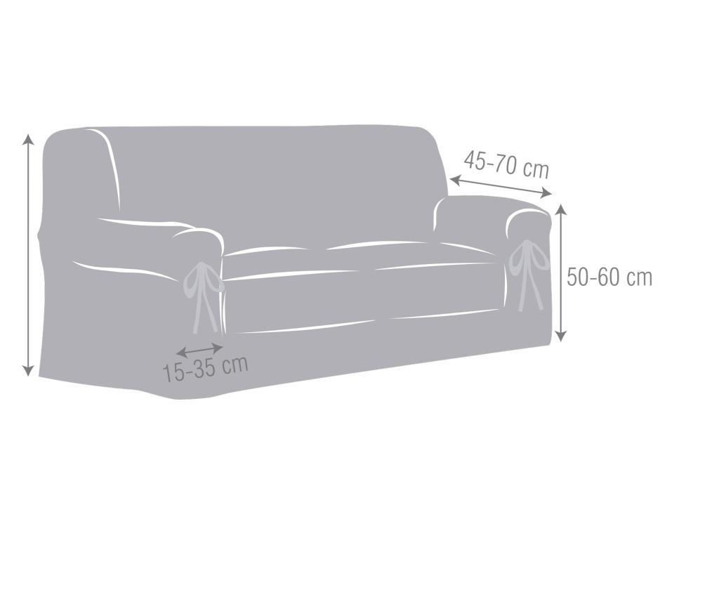 Regulowany pokrowiec na kanapę 2-osobową Chenille Ties Grey 180x45x50 cm