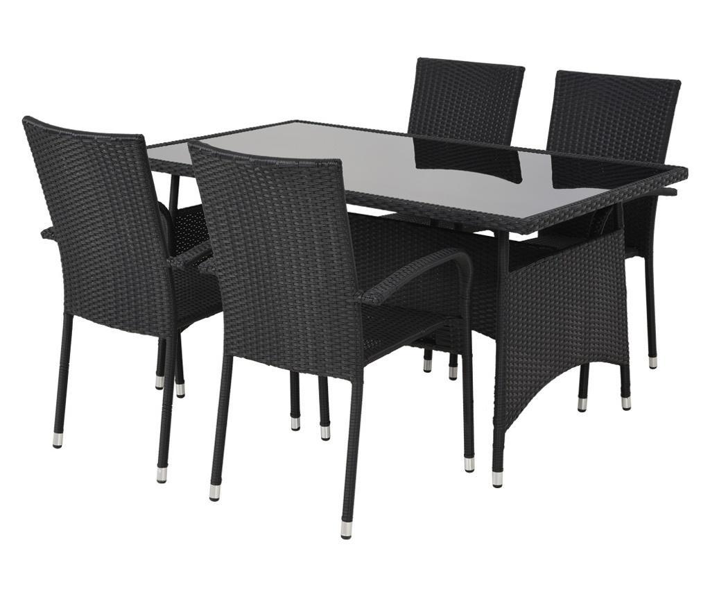 Set masa si 4 scaune pentru exterior Presley Black