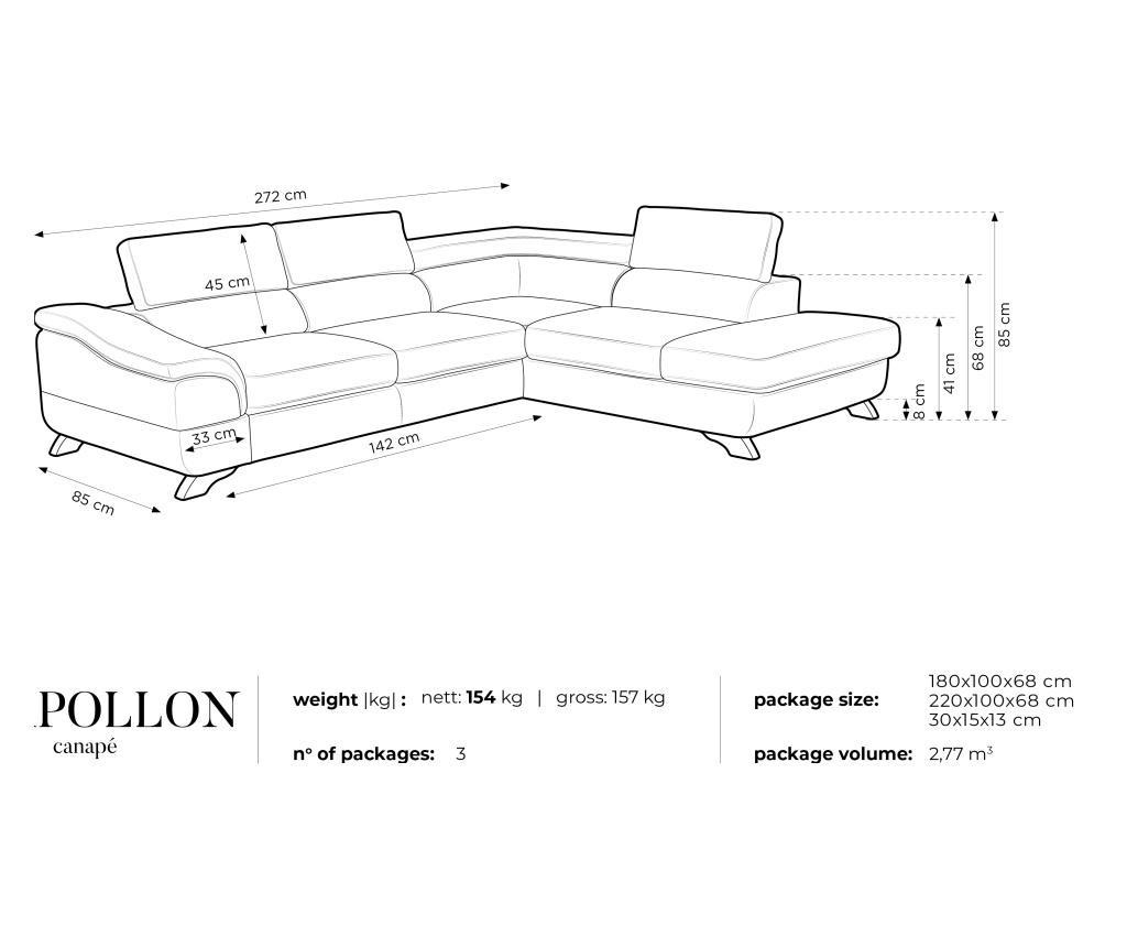 4 местен разтегателен десен ъглов диван Apollon Black