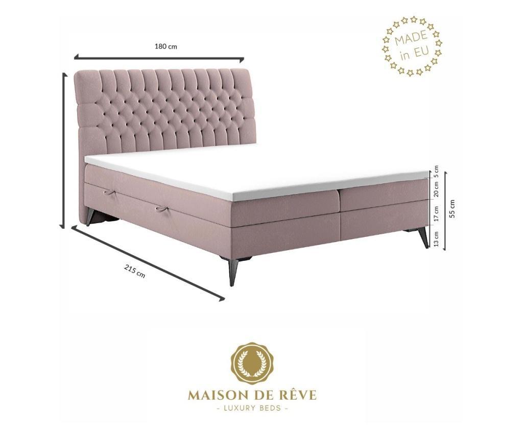 Postel s matrací a čelo postele Madison Grey 180x200 cm