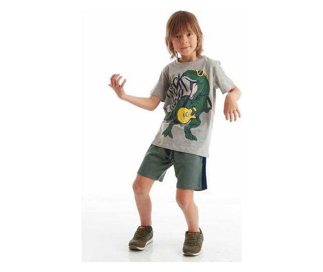 Set tricou si pantaloni pentru baieti Rock Dino 4 ani