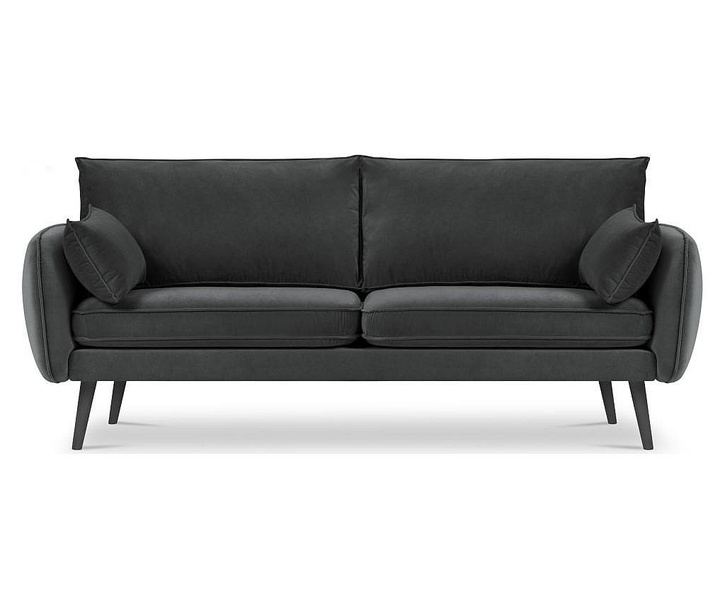 Canapea 4 locuri Lento Velvet Dark Grey