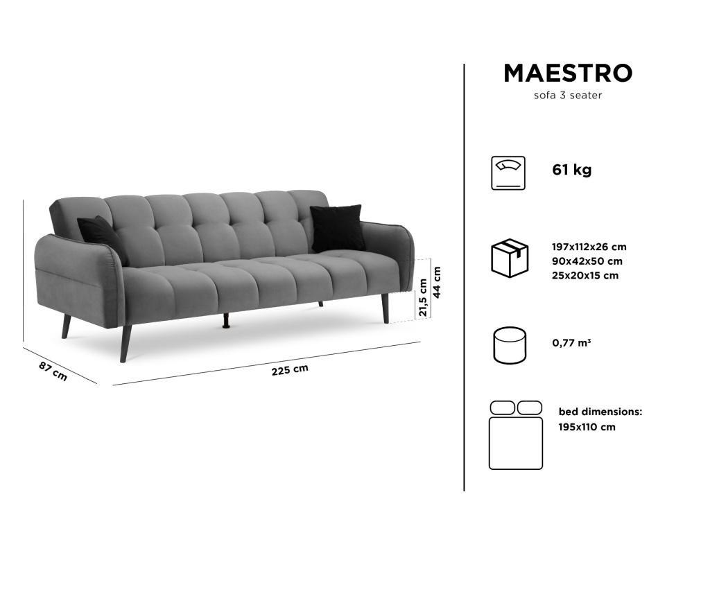 Canapea extensibila cu 3 locuri Maestro Velvet Pink
