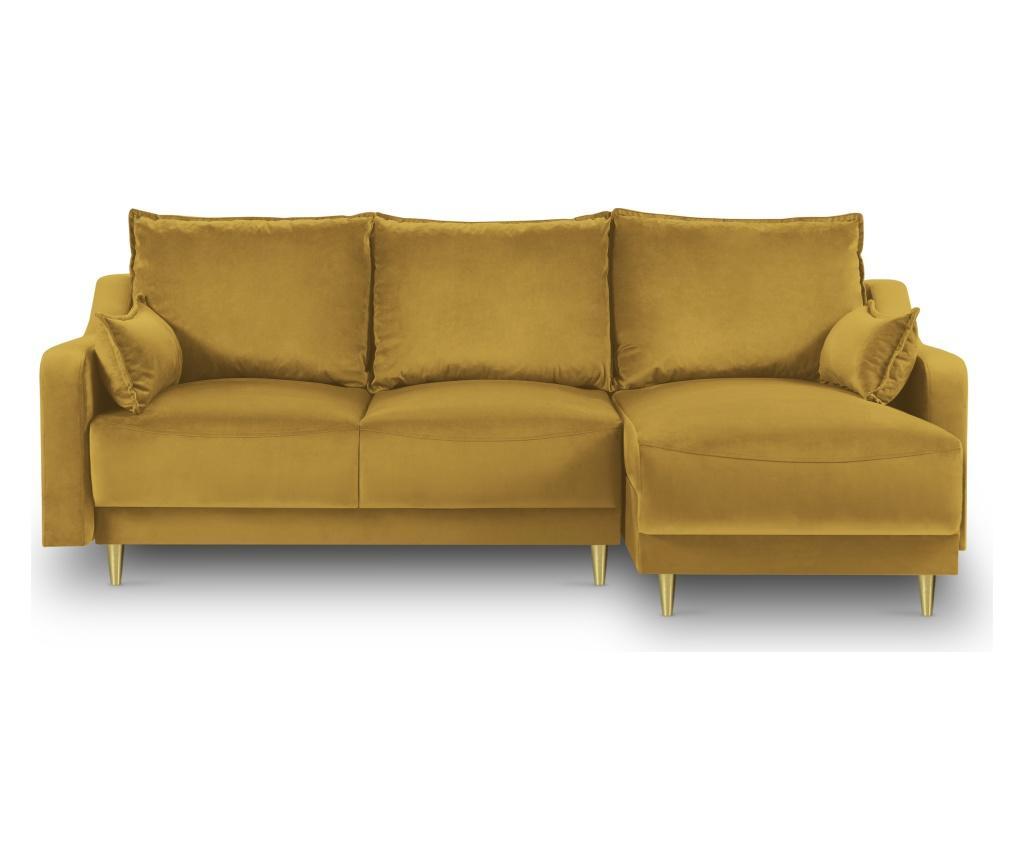 Разтегателен обратим ъглов диван Pansy Yellow