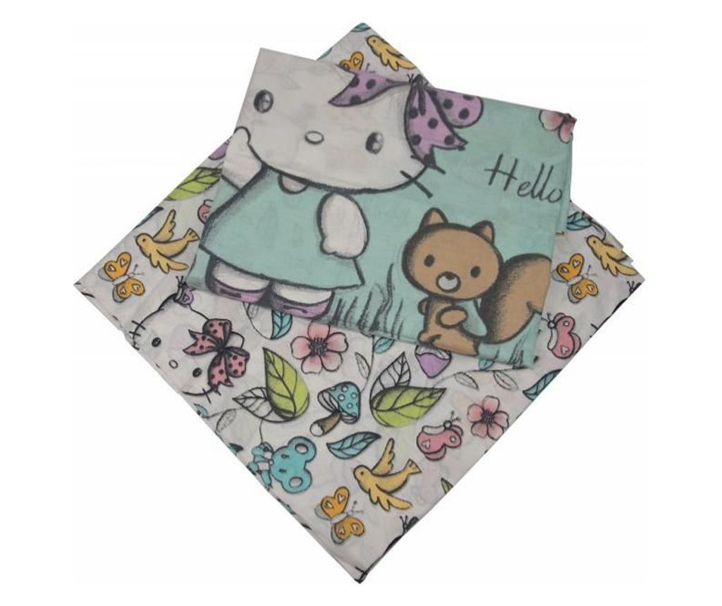 Set cearsaf de pat si fata de perna Hello Kitty