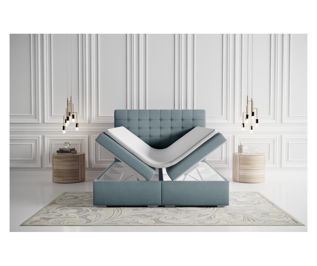 Boxspring krevet s prostorom za odlaganje Sansa Blue Silver 160x200 cm
