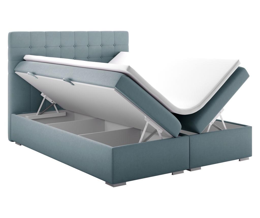 Łóżko kontynentalne ze schowkiem Sansa Blue Silver 160x200 cm