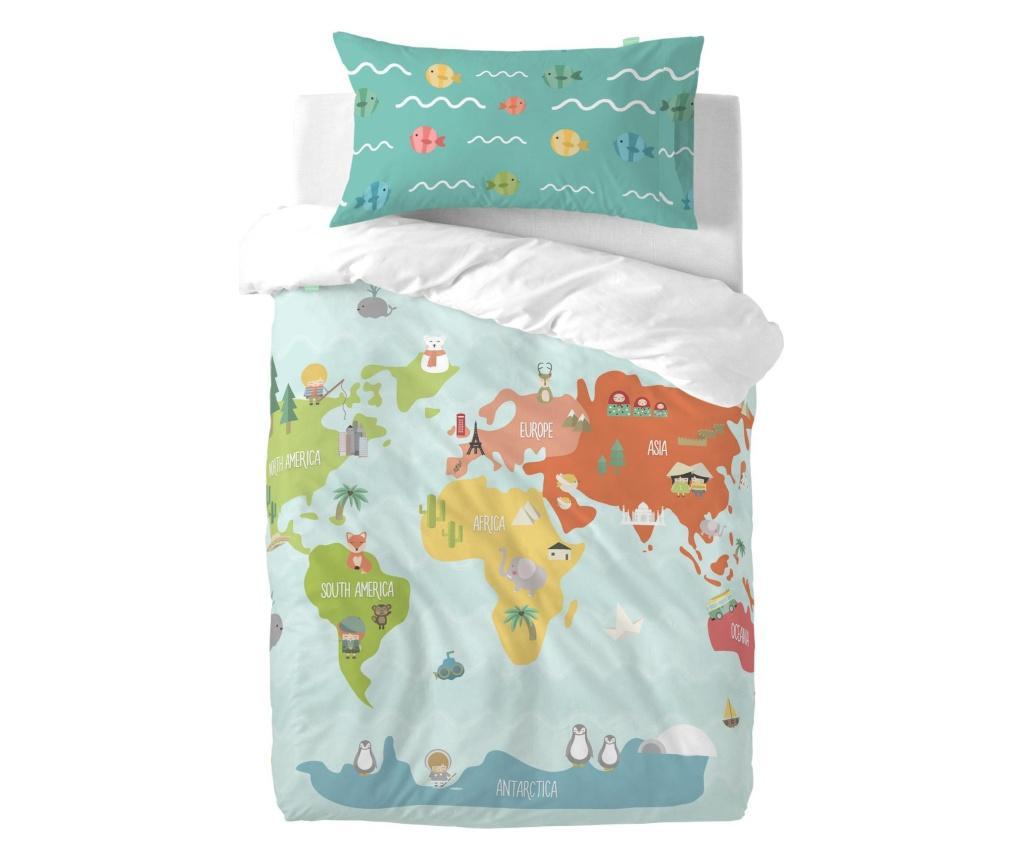Posteljina za krevetić Single World Map