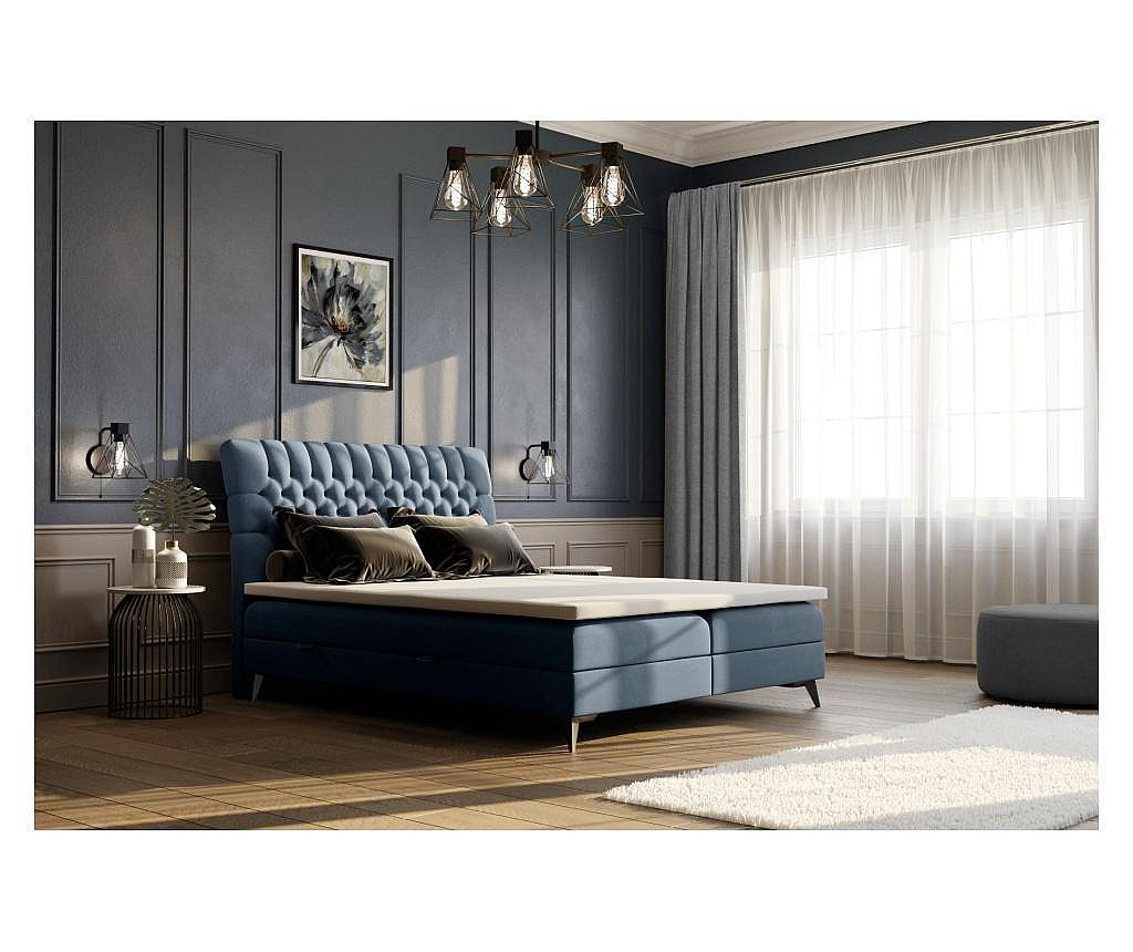 Pat cu spatiu pentru depozitare si saltea topper Madison Blue Grey 160x200 cm