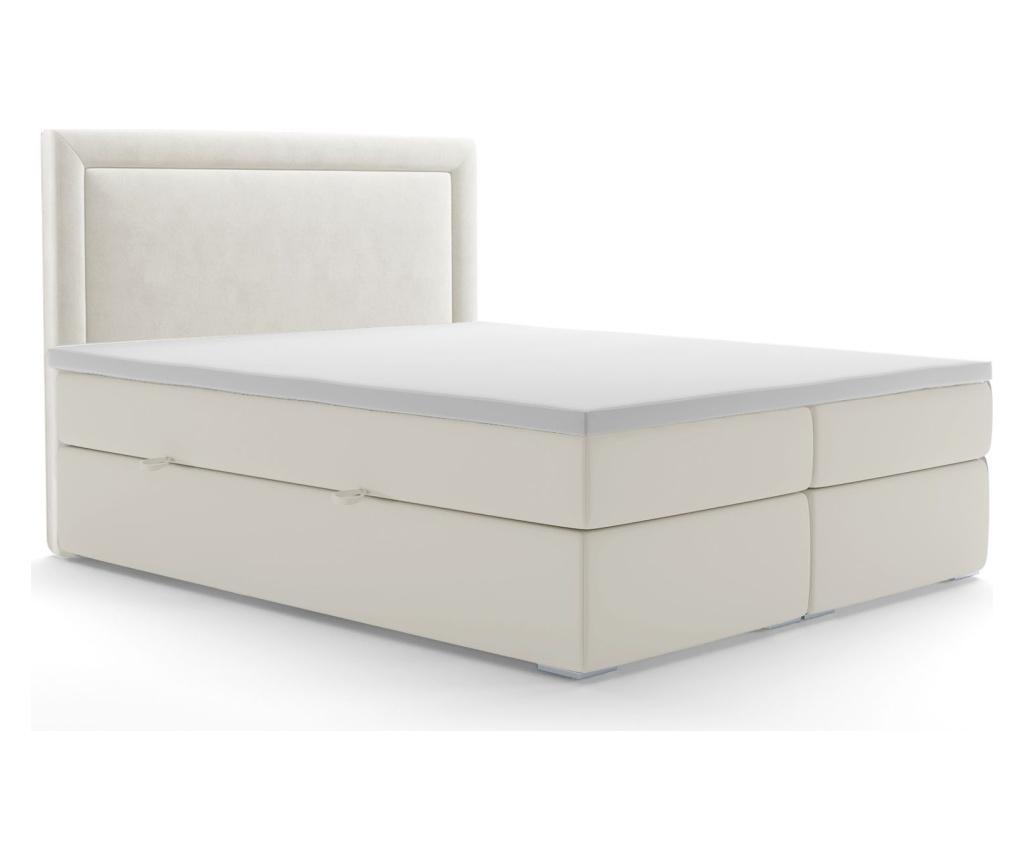 Tribeca White Boxspring ágy tárolóhellyel és védőmatraccal 160x200 cm
