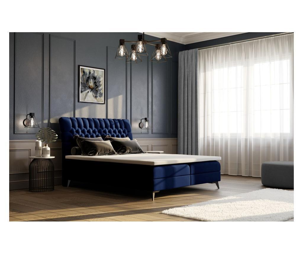 Łóżko kontynentalne ze schowkiem i materacem nawierzchniowym Madison Galaxy Blue 180x200 cm