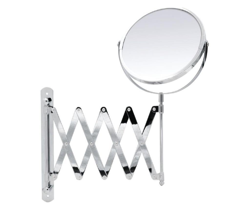 Oglinda cosmetica  cu brat flexibil cromat Ridder, cu o fata normala si o fata cu marire de pana la 2 ori, diametru 16.5 cm Jani