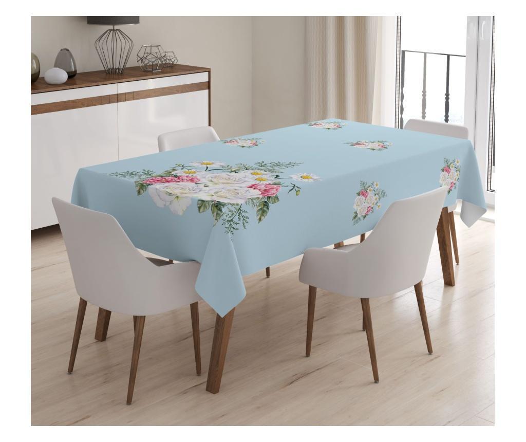 Stolnjak Minimalist Tablecloths Blue White Flowers 120x140 cm
