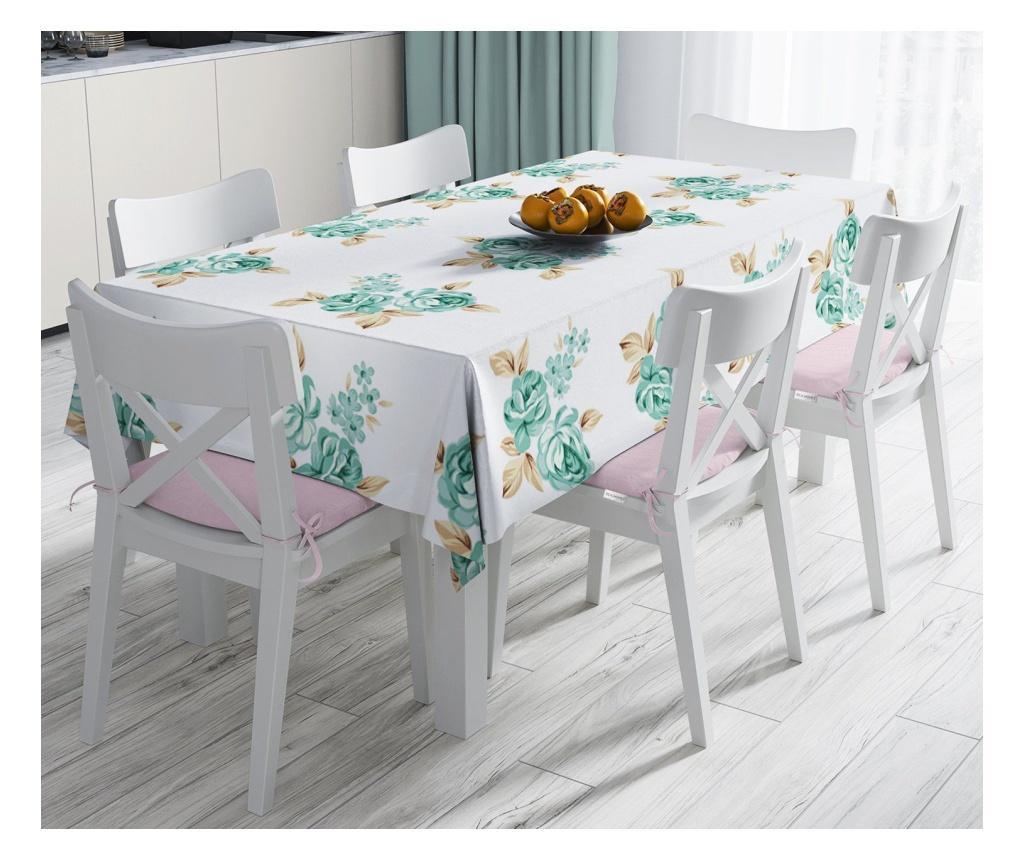 Stolnjak Minimalist Tablecloths Green Yellow Flowers 120x140 cm