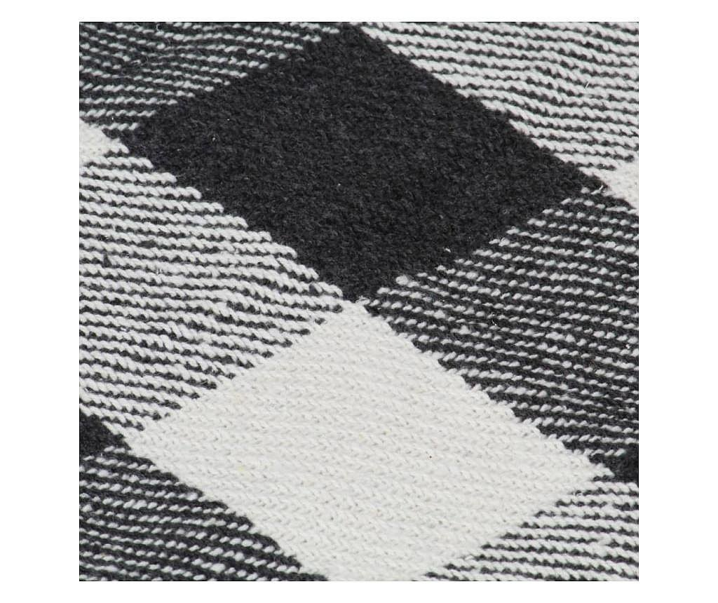 Přehoz bavlna károvaný 160 x 210 cm antracitový